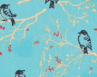 Turquoise Birds On Branches Cotton Fabric Fat Quarter 18 X 22