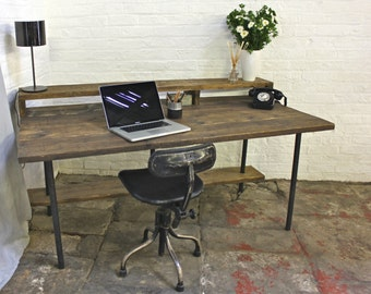 Tovey Reclaimed Dark Stained Scaffolding Board and Pipe Industrial Style Desk with Top and Lower Under Shelves - by www.urbangrain.co.uk
