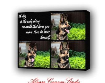 Gift for Him Collage Photo, His Personalized Canvas, Your Best Friend on Canvas with Quotes, Custom Portrait, Best Friend Gift, Dog Photo