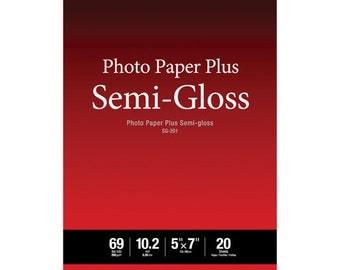 "Canon 1686B061 SG-201 Photo Paper Plus Semi-Gloss (5 x 7"", 20 Sheets)"