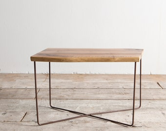 Delamont walnut and iron coffee table, industrial rusty (NX3)