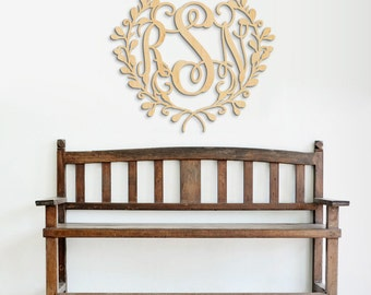 Large Wooden Monogram - Unpainted Wood Monogram - Wall Decor - Large Wood Monogram - Door Hanger Letters - Wooden Wall Sign
