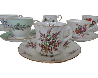 Mixed English Teacups and Saucers, Mixed Porcelain Teacups, Wedding Shower Teacups