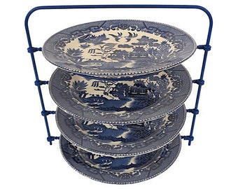 Blue Willow Plates with Vintage Plate Holder