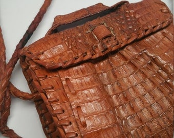 Baby Alligator Mid Century 1960s Purse. Bohemian Chic. Beach, Safari. Genuine. Arms for the Handle on this Crossover Satchel Bag.