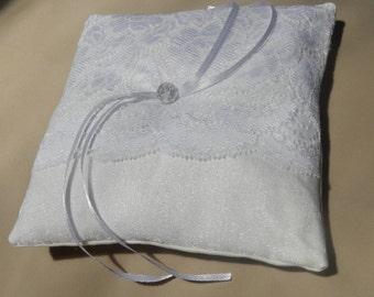 White Wedding Ring Bearer Pillow