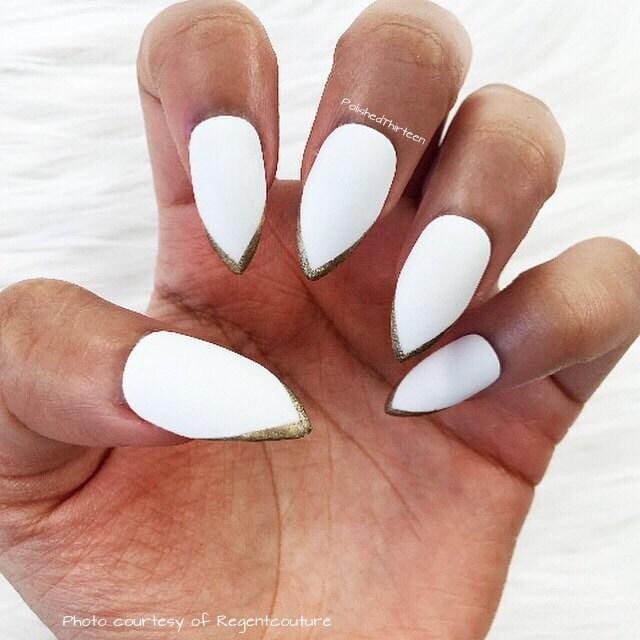 white stiletto faux nails gold tips stiletto nails fake