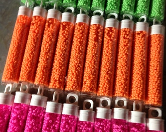 Size 10 Neon Seed Beads in approximately 14gram tube