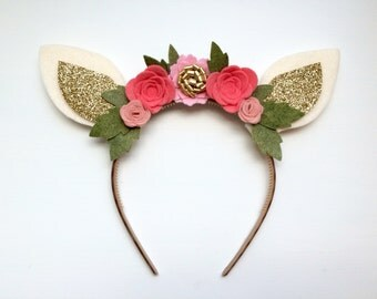 Felt Deer Fawn Ear headband - shades of pink flowers with glitter gold and green leaves
