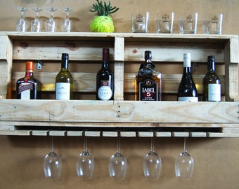 Wall bar with glass rack