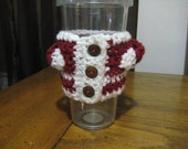 Santa Claus Coffee Cozy - Crocheted Accessory - Red and White Reusable Coffee Clutch, Reduce, Reuse ,Recycle,  Christmas Gifts