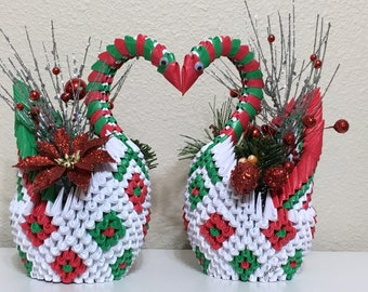 Christmas 3D Origami Swans with flower (pair)