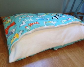 Blue Dachshund Sausage Dog Fabric Snuggle Bed Handmade Sack Pillow Cave