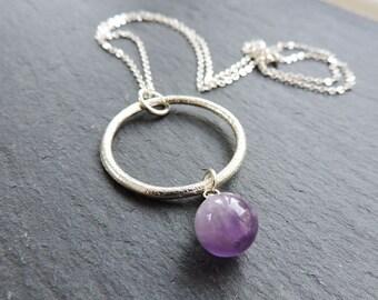Silver ring & Deep Purple Amethyst Drop Pendant - Dark Purple Semi-precious Gemstone