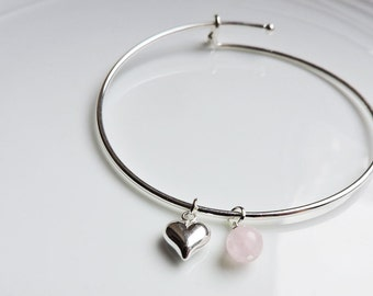 Silver Heart & Rose Quartz bangle - Adjustable silver bracelet bangle, Silver puffed heart charm and pale pink rose quartz drop