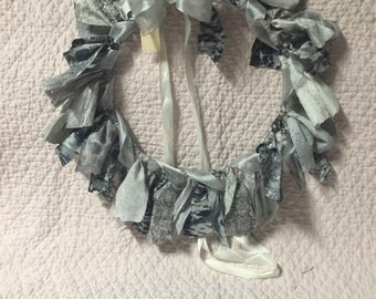Grey Fabric Wreath