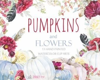 Pumpkins. Pumpkins clipart. Watercolor clipart. Watercolor wreath. Fall clipart.Watercolor floral clipart. Floral clipart