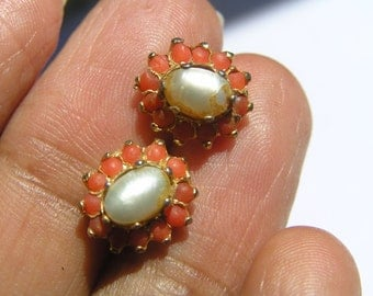 Coral Flower Cluster Earrings - Cultured pearl - Victorian revival jewelry