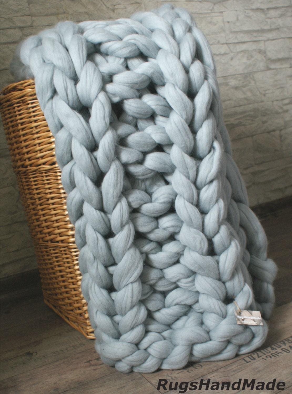 Arm Knitting Yarn Australia : Chunky knit throw arm blanket baby by