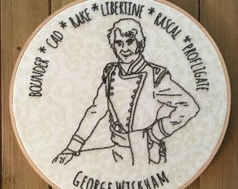 George Wickham - Embroidery Hoop Art - Handmade - Jane Austen - Pride and Prejudice