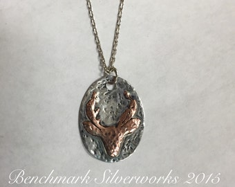 Silver and Copper Deer Antlers Pendant