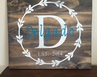 Custom wooden name sign