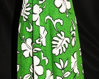 Vintage Hawaiian Print Maxi Dress