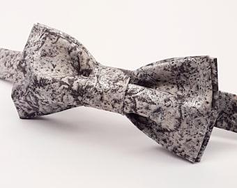 Silver Bow tie, Grey Bow tie, Men's Silver Bow tie, Men's Grey Bow tie. Metallic Bow tie. Pre-tied Bow tie