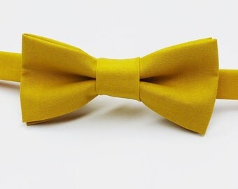 Mustard Bow tie, Yellow Bow tie, Yellow Bowtie, Dark Yellow Bow tie, Gold Bow tie, Gold Bowtie, Men's Yellow Bow tie,  Kid's Yellow Bow tie