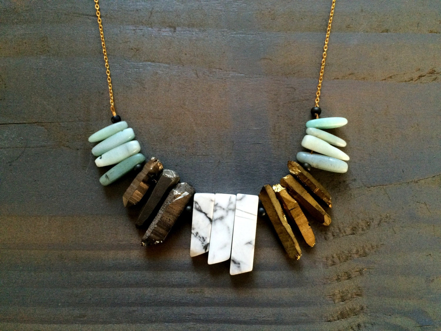 Statement necklace marble jewelry marble necklace chunky for How to make marble jewelry