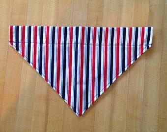 Red White and Blue Striped Dog Bandana- Size Medium