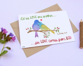 """Christian bible verse greetings card (1 John 4:7) """"Let us Love One Another, for Love Comes From God"""""""