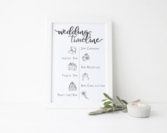Wedding Timeline Template // BLACK // Digital Printable // Custom sizing