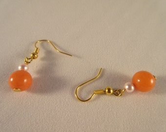 Fresh water pearl &Coral beads dangle/DROP EARRING