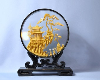Antique Chinese Cork Craving/ Sculpture Hand Carved Lacquer Frame DSC_00818a