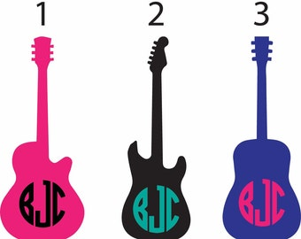 Guitar decal, guitar monogram, musician monogram vinyl decal, car vinyl decal, yeti musician monogram decal, cute guitar music monogram