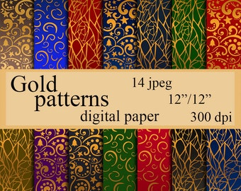 Digital paper Gold patterns gold paper Instant download Gold background for Personal and Commercial Use