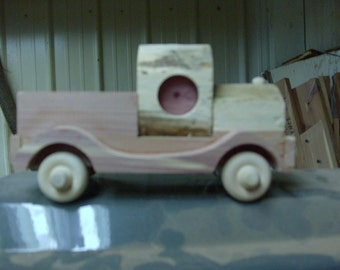 Primitive Wooden Toy Pickup Truck