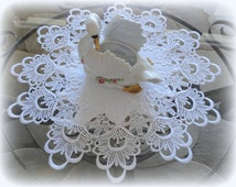 "17"" Lace Doilies SET of 2 Decadent White Delicate Round"