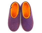 Felted wool slippers for women / House eco slipper shoes / DUAL PURPLE orange by Wooppers woolen slippers /warm felt slippers gift for her