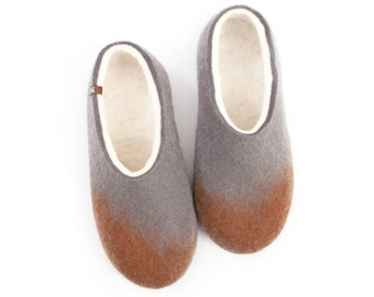 "Women organic Felt Wool Slippers / ""Amigos"" Brown Grey White by Wooppers Woolen Slippers / Natural colors, Useful Gift"