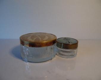 Vintage Glass Make Up Containers, Vintage Powder Jar, Make Up Jars, Dresser Jars, Art Deco Jar, Victorian Make Up Jar