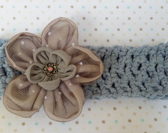 Crochet Girl/Ladies Headband, handmade in 100% Cotton with Fabric Flower