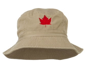 Canada Maple Leaf Embroidered Bucket Hat