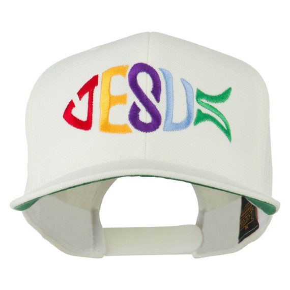 Jesus fish embroidered flat bill cap by e4hats on etsy for Fishing flat bill hats