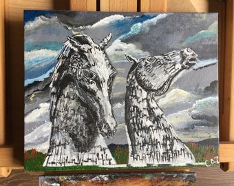 The Kelpies in Scotland - Acrylic painting on 16x20 inch canvas