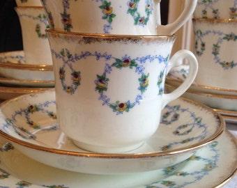 Adorable Baby Blue Antique Longton 21 piece Unique Victorian Vintage Teaset, Perfect