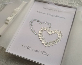 Silver Diamond Wedding Day or Anniversary Congratulations Card Handmade Personalised Keepsake Parents Grandparents Friends Boxed or Envelope