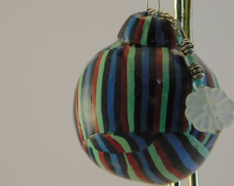 Polymer clay holiday/christmas black, green,red and blue stripes ornament