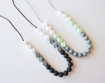 Teething Necklace for Mom, Modern Nursing Necklace, Chewlery, Teether Chewing Beads, Chew Jewelry Beads, Color Block Combo